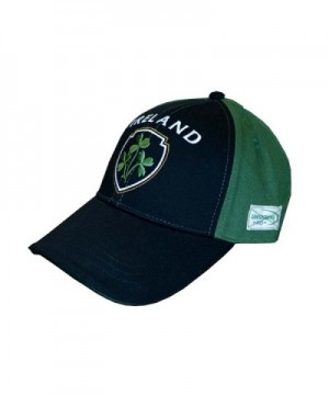 Traditional Craft Baseball Cap With Half Green- Half Black With Embossed Ireland and Shamrock Crest - C511ZF0TJH7