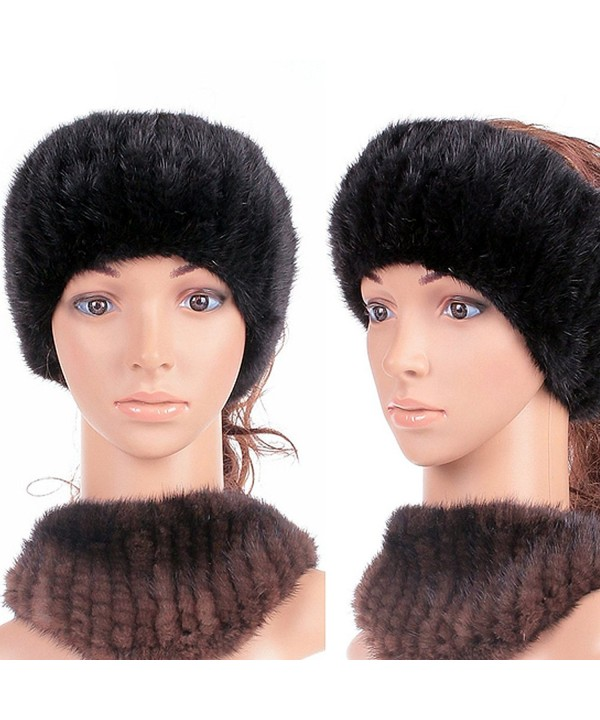 Women Winter Autumn Fur Headband Genuine Mink Women Winter - Black - CM11QPYVT0H