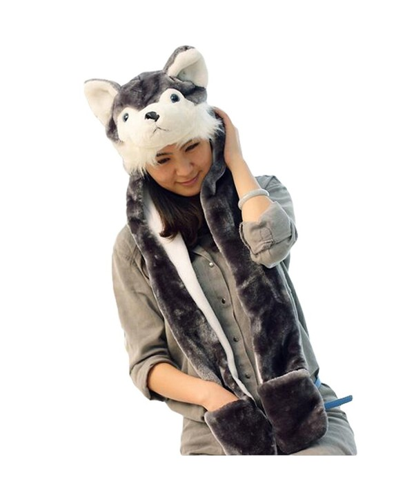 Julvie Animal Hat Gloves Scarf 3 In 1 Set Animal Hooded Scarf with Attached Mittens - Husky - CI12O1C9P99