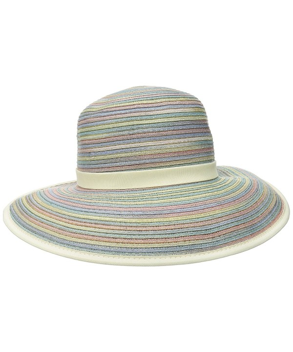 San Diego Hat Company Women's Mixed-Braid Adjustable Face Saver Sun Brim Hat - Mixed Pastel - CB126AOPPM3
