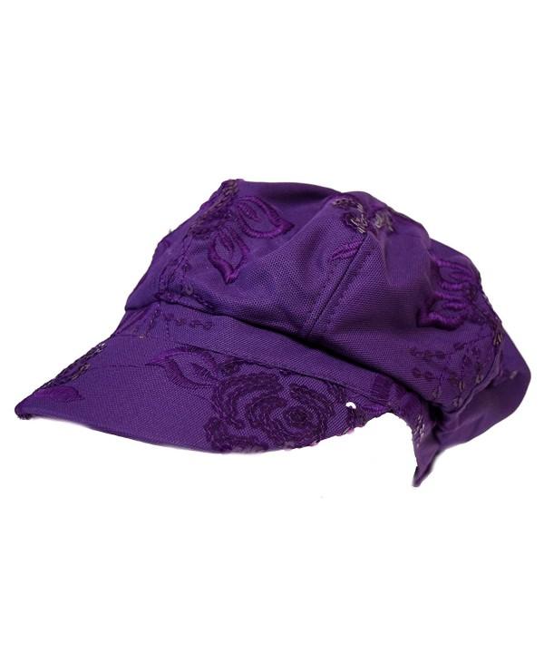Purple Sequin Floral Pattern Newsboy Cap - CS1137ARR5R