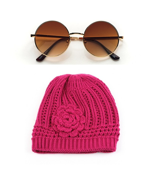 Winter Knit Flower Beanie Hat 333HB - Hot Pink - CS11F8XRNLF