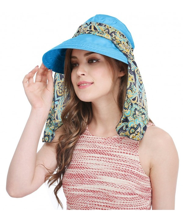 Bellady Big Brim Foldable Hat Summer Beach Cotton Sun Hat Floppy Sunblock Hats Visor - Blue_with Scarf - C612O0SX49P