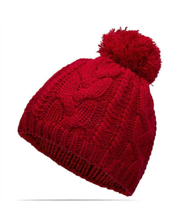 Nine City Unisex Knitted Beanie With Pom and Fleece Lining Skull Cap - CW12MZSRZE2