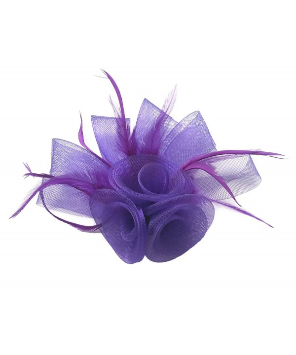 Women Fascinator Hair Clip Headband Feather Flower Cocktail Tea Party Headwear - F Purple - CR186I85KDW