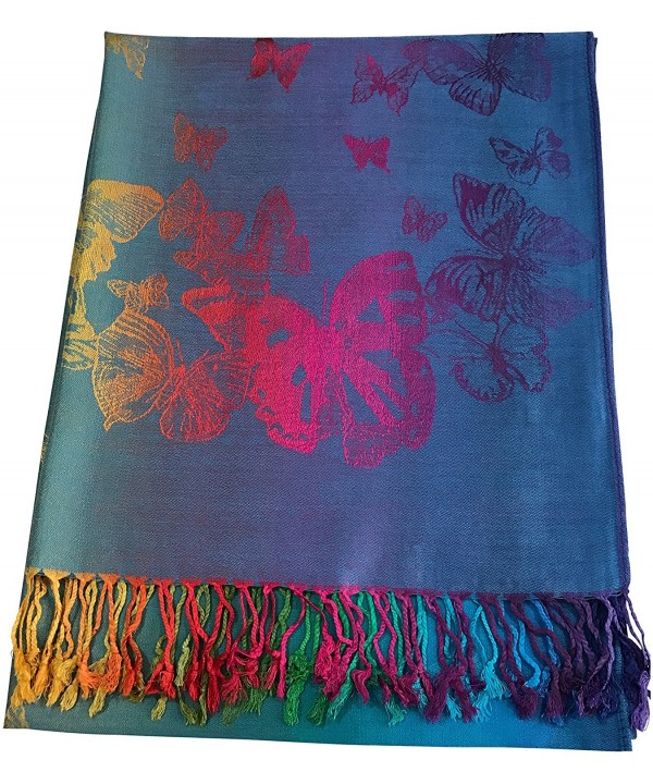 Butterfly Design Shawl Pashmina Scarf Wrap Stole Throw Pashminas CJ Apparel NEW - Turquoise - C312O1IL42J
