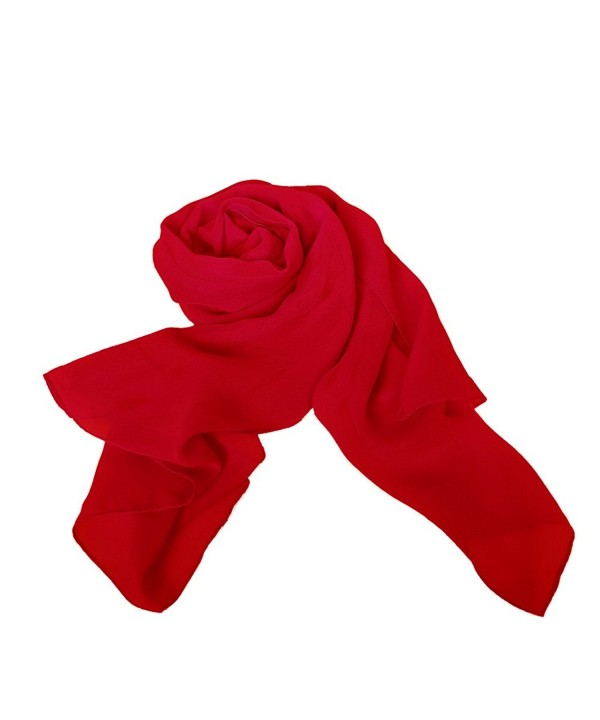 MATCH MUCH Chiffon Scarf Plain Colors Wrap Shawl-26 Colors - Red - C012MSOYANJ