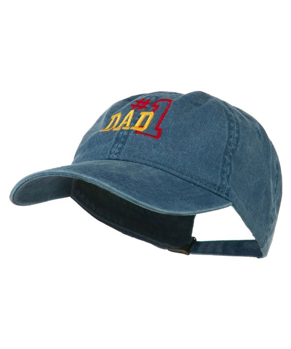 Number 1 Dad Outline Embroidered Washed Cotton Cap - Navy - CI11NY2AL3N