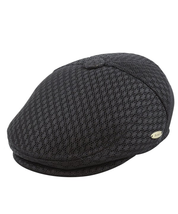 THE HAT DEPOT Light Weight Soft Cool Mesh newsboy Gatsby Cabbie IVY Golf Hat - Black - CG12JJZHDVH