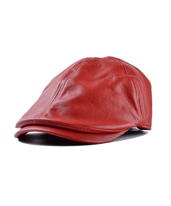 Besde Winter Unisex Men Vintage Leather Beret Hat Cap Beanie Hip-Hop Hat Solid - Red - CH12OBUSI8N