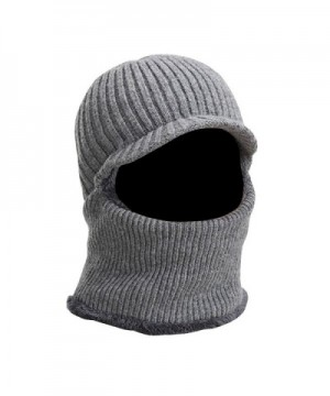 Peak Mall Winter Warmer Knitted Hat Balaclava Beanie Hat Windproof Tuque Visor Warmer Face Cover - Gray - CM185QMINZH