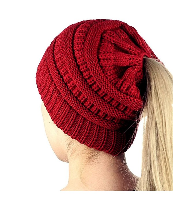 WJA Ponytail Beanie Tail Hat Women Cable Knit Messy High Bun Cap Red - CC189I5TYX8
