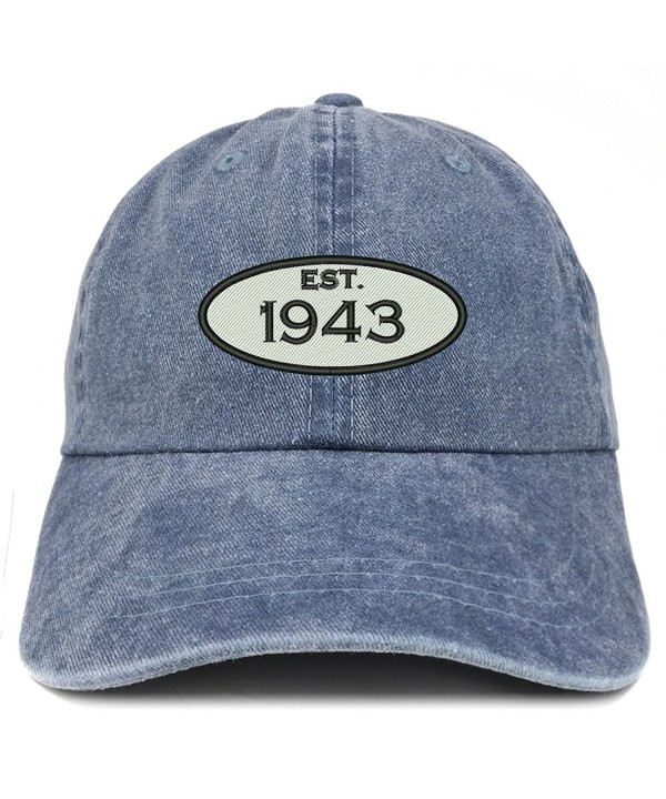 Trendy Apparel Shop Established 1943 Embroidered 75th Birthday Gift Pigment Dyed Washed Cotton Cap - Navy - C812NACIJYO