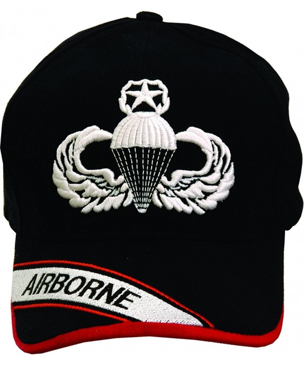 Airborne Master Parachutist Badge Black Hat with Embroidered Bill - C811WV02WIH