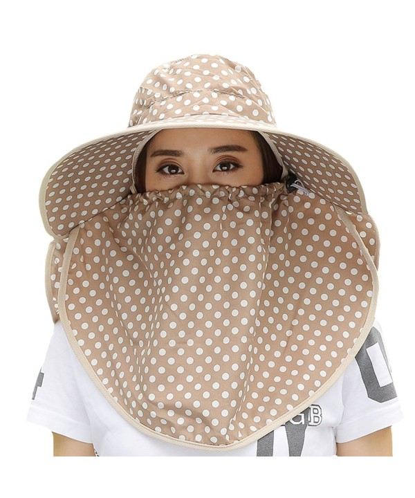 Womens Summer Beach Cotton Face Neck Sun UV Protection Floppy Hat Visor Cap Mask - Khaki - C012E0K3ZK9