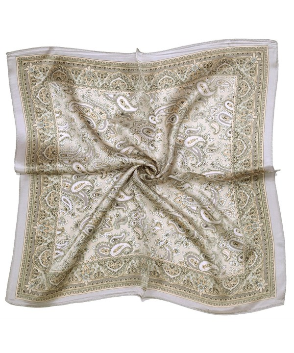 Silver Light Brown Paisley Printed Thick Small Silk Square Scarf - CD12FW9MRW9