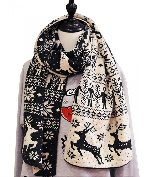 Christmas Elk Snowflake Pattern Shawl Tippet Winter Warm Cotton Thicken Scarf - Black - CP186W98W46