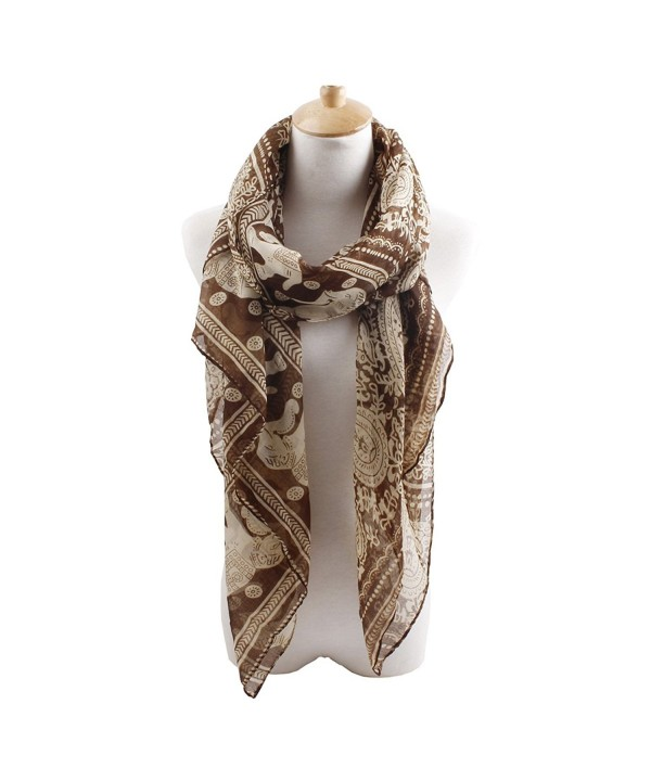 Herebuy - Designer Animal Scarves: Fashionable Elephant Print Scarf - Coffee - CN11QB9B7GR