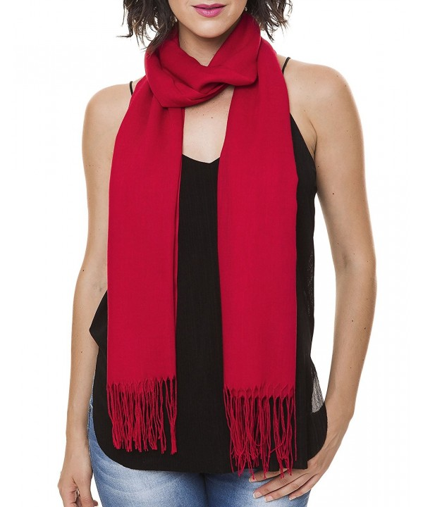 Soft Poly Viscose Women Lightweight Scarf For Spring Wedding Pashmina Shawl Wrap - Red - CY12LOIIGVD