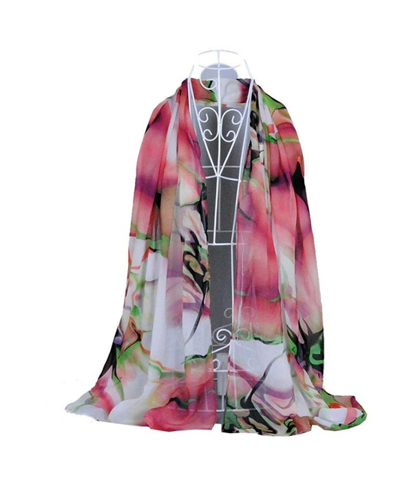 XUANOU Chiffon Scarf Fashion Lady Long Wrap Women's Shawl Scarves - Pink - CY12MNR2KY3