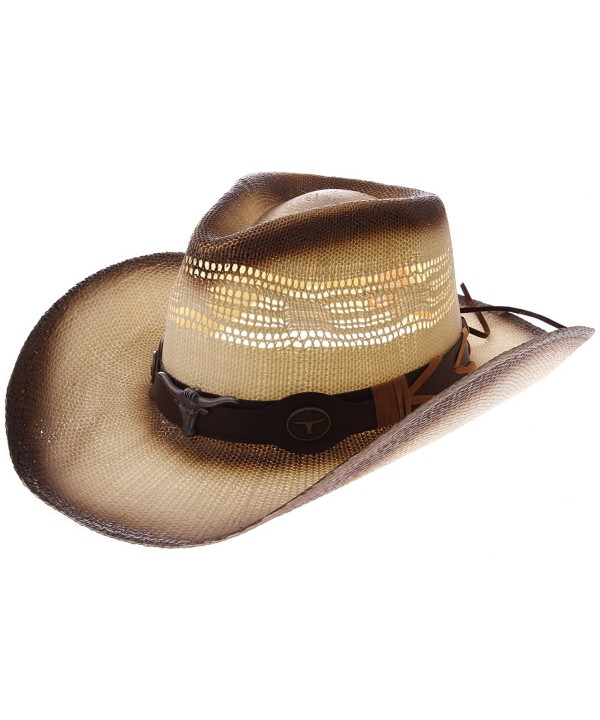 Enimay Western Outback Cowboy Hat Men's Women's Style Straw Felt Canvas - Beige/Brown Bullhead - CM1854NYS5X