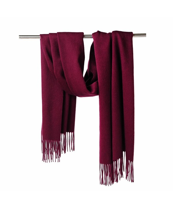 CUDDLE DREAMS Cashmere Wool Scarf Wrap with Fringe (FINAL CLEARANCE SALE) - Burgundy. - CA187RCC232