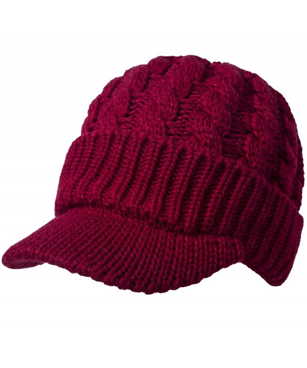 Sierry Cable Knit Hat- Warm Knit Beanie Winter Caps With Visor Brim - Burgundy - CN185L3XAHK