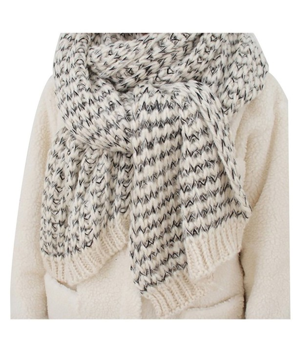 Chunky Cable Soft Mohair Knit Scarf Long Fluffy Wrap for Women Men in Winter FP02 - White - CQ187E3XDEN
