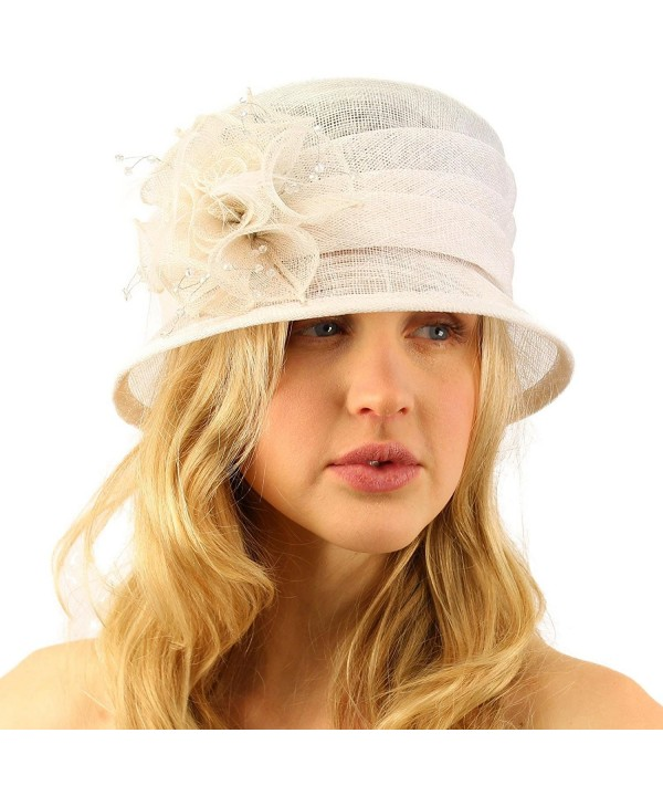 Summer Fancy 1920s Flapper Sinamay Trio Floral Cloche Bucket Church Hat - White - CK11JQSNQGJ