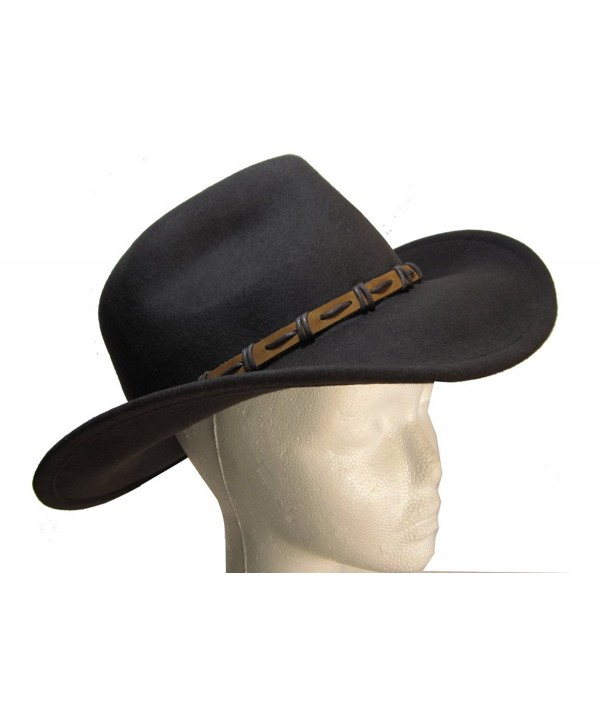 Brown Wool Felt Outback Cowboy Hat with Leather Band by Goal 2020 - CT1181RD69X