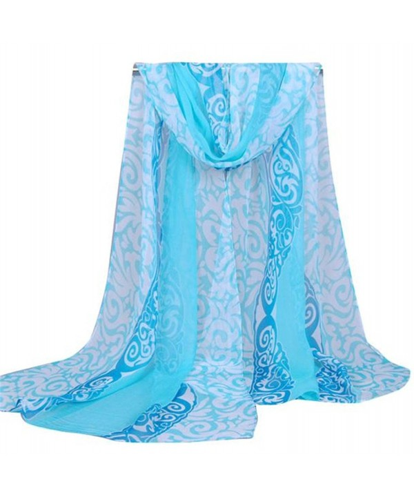 HN Fashion Women Printing Long Soft Wrap Scarf Ladies Shawl Georgette Scarves - Light Blue - CX12OC0ZRCF