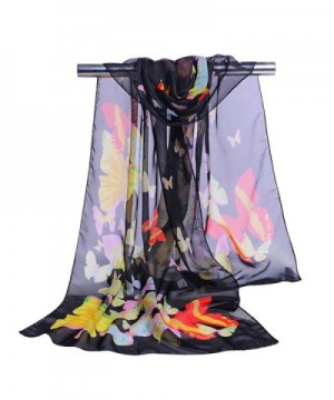 GERINLY Women Scarves Cute Butterflies Sheer Chiffon Scarf - Black - CC12N782ZVI