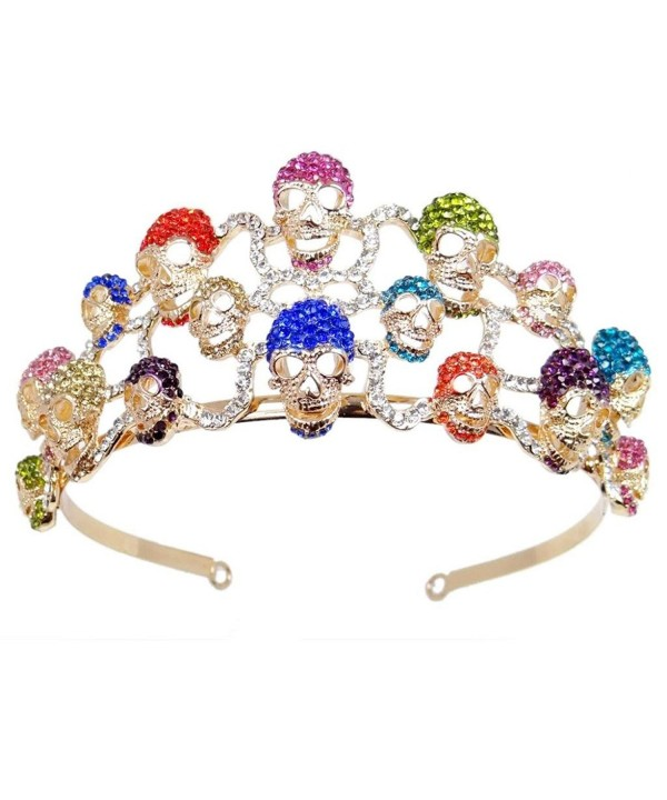EVER FAITH Halloween Skull Hair Band Tiara Austrian Crystal - Multicolor Gold-Tone - CW11FBMFZ5J
