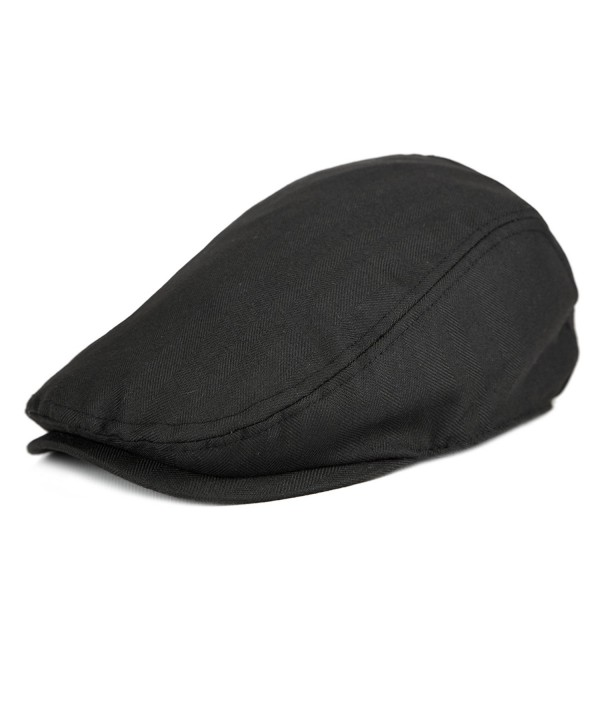 Men's Classic Herringbone Cotton newsboy Gatsby Cap Spring Summer - Black - CE12GU35NQX