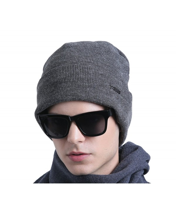 CACUSS Men&lsquos Classic Wool Beanie Hat Knit Skull Ski Caps With Fleece Lined - Z0079_grey - CA185TDKOO3