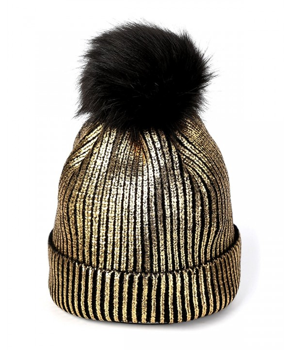 FADA Warm Chunky Soft Cable Knit Slouchy Beanie Pom Pom Skull Hats Shinny Punk Caps - golden - CL188MUH5L0