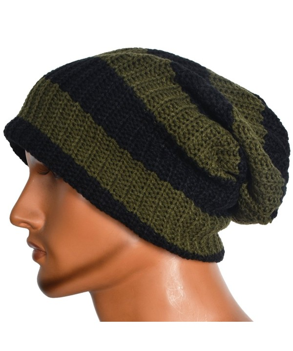 Men's Lined Beanie Slouch Skull Knit Large Baggy Cap Ski Winter Hat - Green - CU12MEFAW6B