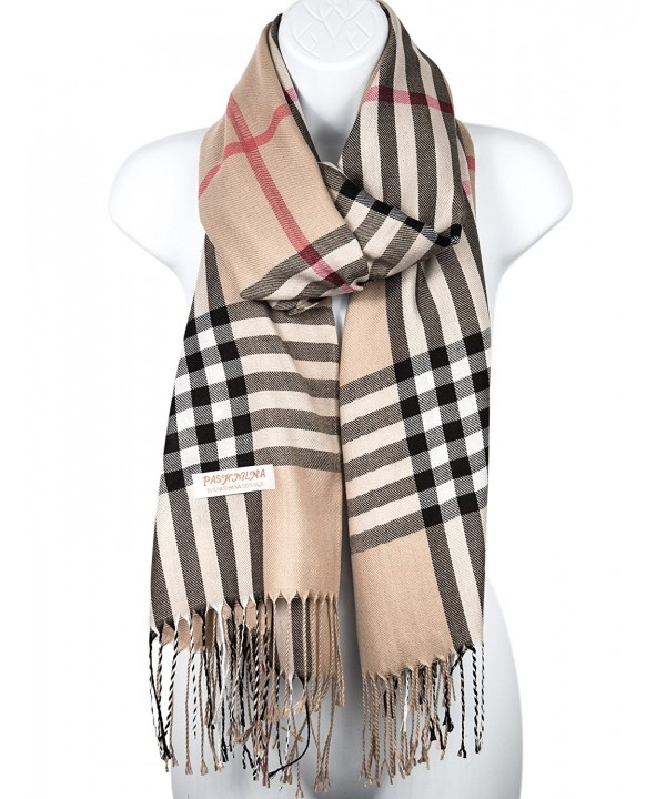 Pashmina Silk Scarf Plaid Checker Pattern Long Soft Shawl Wrap Cape - Beige - CS1870D8Z8D