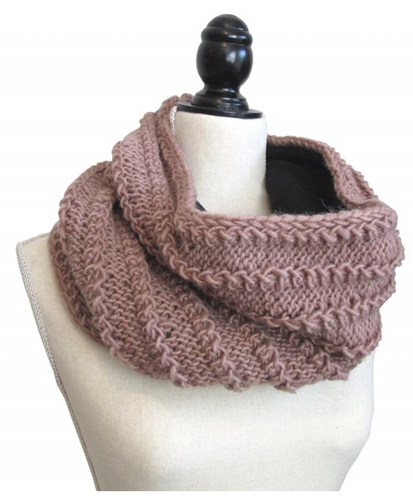 Thick Fleece Lined Wool Mobius Scarf/Hoodie - Mauve - CD186XI36EC