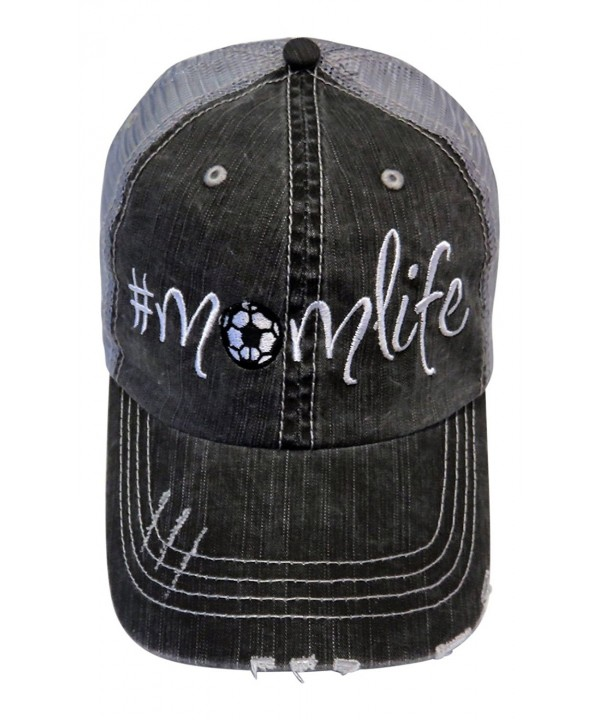 Embroidered Sports momlife Series Distressed Look Grey Trucker Cap Hat Sports - Soccer - CK183KH03S0