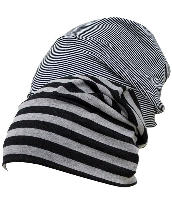 Firsthats Women's 2 Pack Shading Soft Comfy Sleep and Chemo Cap- Hat Liner - Blackgrey & Blackwhite - CN183LRDZRE