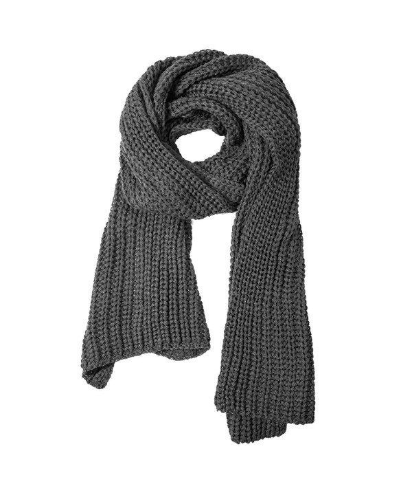 Women And Mens Winter Thick Cable Knit Wrap Chunky Long Warm Scarf - Gray - CM18426RNI0