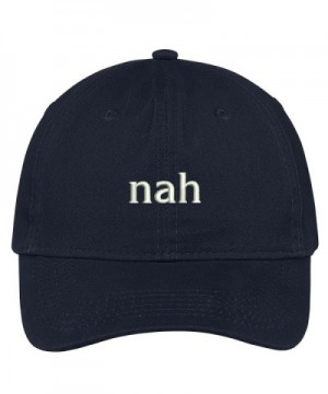 Trendy Apparel Shop Nah Embroidered Brushed Cotton Dad Hat Cap - Navy - CY17YHQK43N
