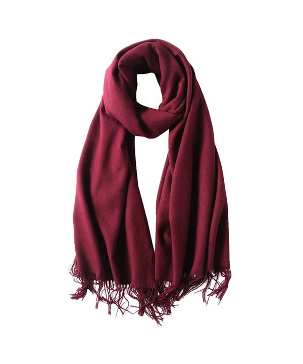 SUNDAYROSE Blanket Scarves Womens Winter Warm Oversized Cashmere Feel Tassel Solid Wrap Shawl - Burgundy - C1187OMENGH