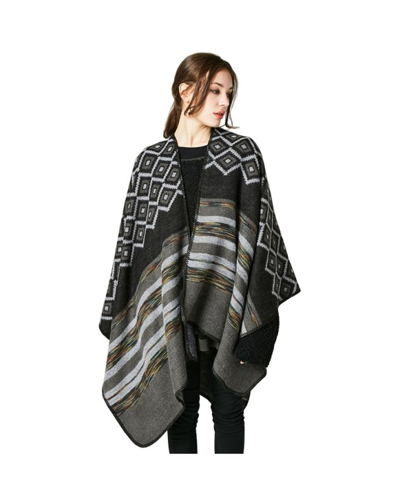 LHHZ-U Women's Shawl Wrap blanket scarf Knitted Cardigan Wrap for Ladies - Black - C9188K4E08S