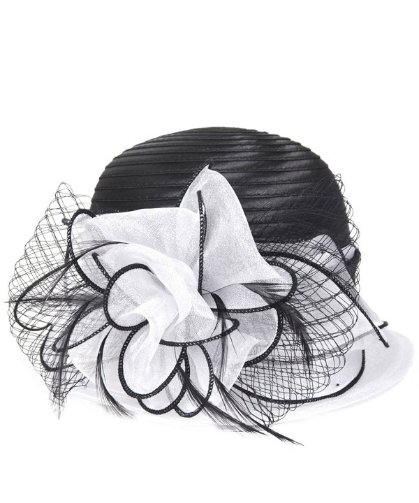 VECRY Kentucky Derby Dress Church Cloche Hat Sweet Cute Floral Bucket Hat - White - C7184I2N88C