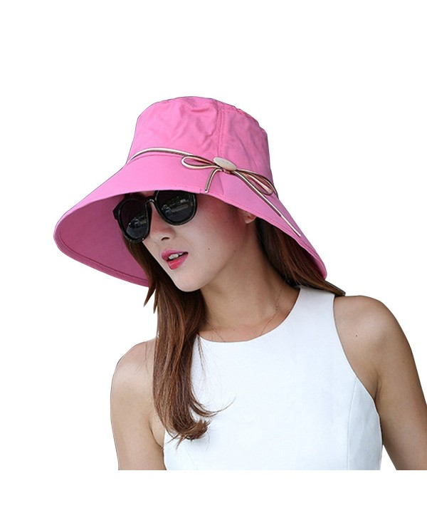Witery Summer Wide Brim Sun Hats Foldable Beach Hat Visor Cloche UPF50+ UV Protection - Lotus Pink - CL122H6QEI3