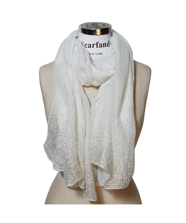 Scarfand's Solid Color Scarf with Crystals - Golden Foil White - CF11MFPH9D1