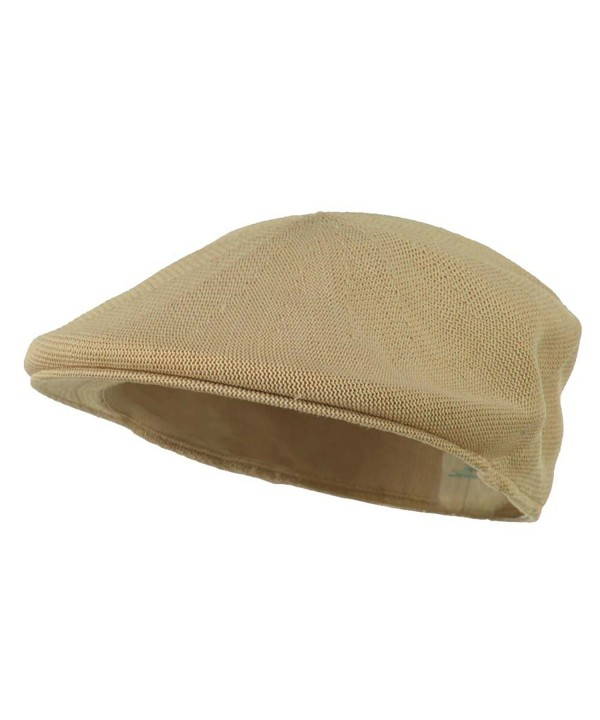 Mens Knitted Polyester Ivy Ascot Newsboy Hat Cap Khaki Tan - CJ115W07SXH