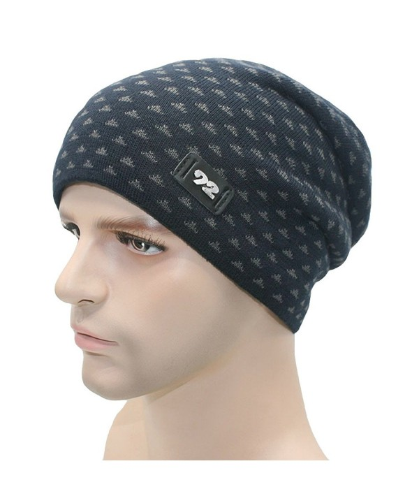 JY Collection Men's Beanie Hats Knit Winter Warm For Men Wool Lining Skull Ski Cap - Navy Blue - C4127RKI0UT